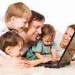 Stock Photo: Family with computer