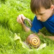 Boy and helix — Stock Photo