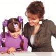 Royalty-Free Stock Photo: Mom draws with daughter