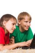 Two boys and laptop — Stock Photo