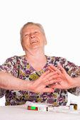 Nonna con medicina — Foto Stock