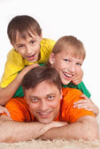 Daddy with sons — Stock Photo