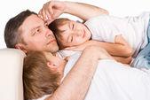 Cute snem rodziny — Zdjęcie stockowe
