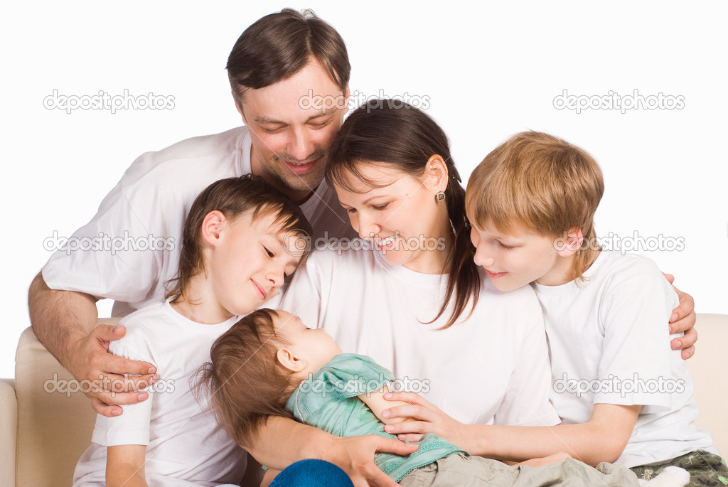 Portrait of a sleeping family on a white  Stock Photo #6352753