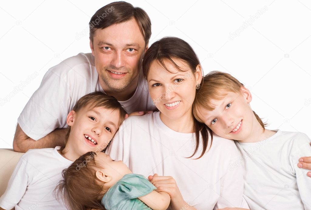 Portrait of a sleeping family on a white — Stock Photo #6352764