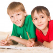 Two boys drawing — Stock Photo #6436775