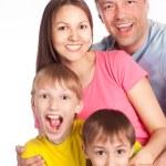 Cute family on white — Stock Photo