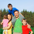 Stock Photo: Family of a five at nature