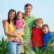 Family of a five at nature — Stock Photo