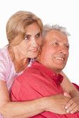 старая пара на белом — Стоковое фото