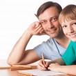 Dad draws with son — Stock Photo