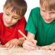 Stock Photo: Two boys drawing