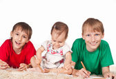 Cute children drawing — Stock Photo