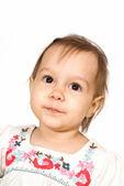 Cute little girl on white — Stock Photo