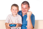 Pai e filho brincando — Foto Stock