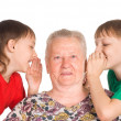 Granny with grandsons — Stock Photo