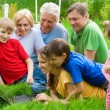 Royalty-Free Stock Photo: Family at nature with laptop