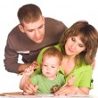 Family drawing on white - Stock Photo