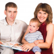 Family with book - Foto Stock