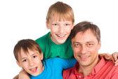 Pai com filhos — Fotografia Stock