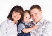 Family of a three on a white — Stock Photo