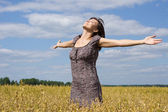 Woman at field — Stock Photo