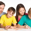 Cute family drawing - Stock Photo