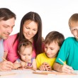 Cute family of a five drawing — Stock Photo #6681913