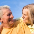 Cute elderly couple at nature — Stock Photo #6682574