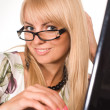 Nice girl and laptop — Stock Photo