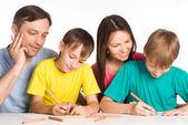 Söta familjen ritning — Stockfoto