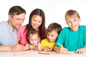 Cute family of a five drawing — Stock Photo