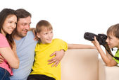 Kid with camera — Stock Photo