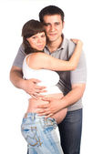 Pregnant woman with man — Foto de Stock