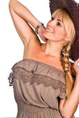 Linda chica del sombrero — Foto de Stock