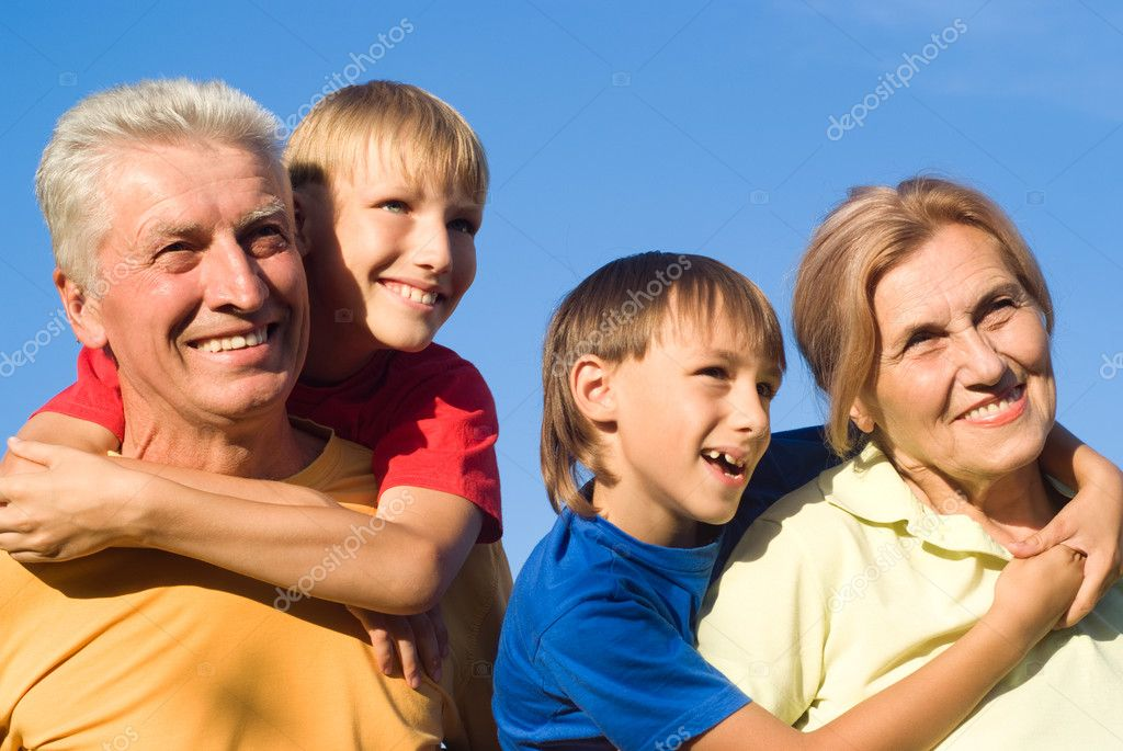 Boys with their  grandparents play at nature  Stock Photo #6682558