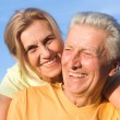 Cute elderly couple at nature — Stock Photo #6740508