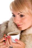 девушка с кофе — Стоковое фото
