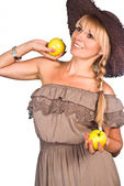 Nice girl with apple — Stock Photo