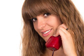 Girl and telephone — Stock Photo