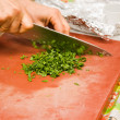 Chopping parsley — Stock Photo