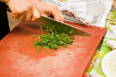 Chopping parsley — Photo