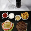 Burger and french fries served on a classic table — Foto de Stock