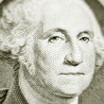 Likeness of George Washington on one dollar bill — Stock Photo