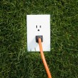 Electrical outlet in grass — Lizenzfreies Foto