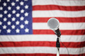 American Flag and microphone — Stock Photo