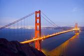 χρυσή γέφυρα πυλών τη νύχτα — Φωτογραφία Αρχείου