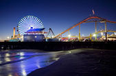 Santa Monica Pier at Night — 图库照片
