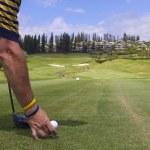 Golfer Teeing Off on Maui — Stock Photo #6518178