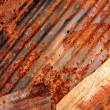 Rusty corrugated metal plates — Stock Photo